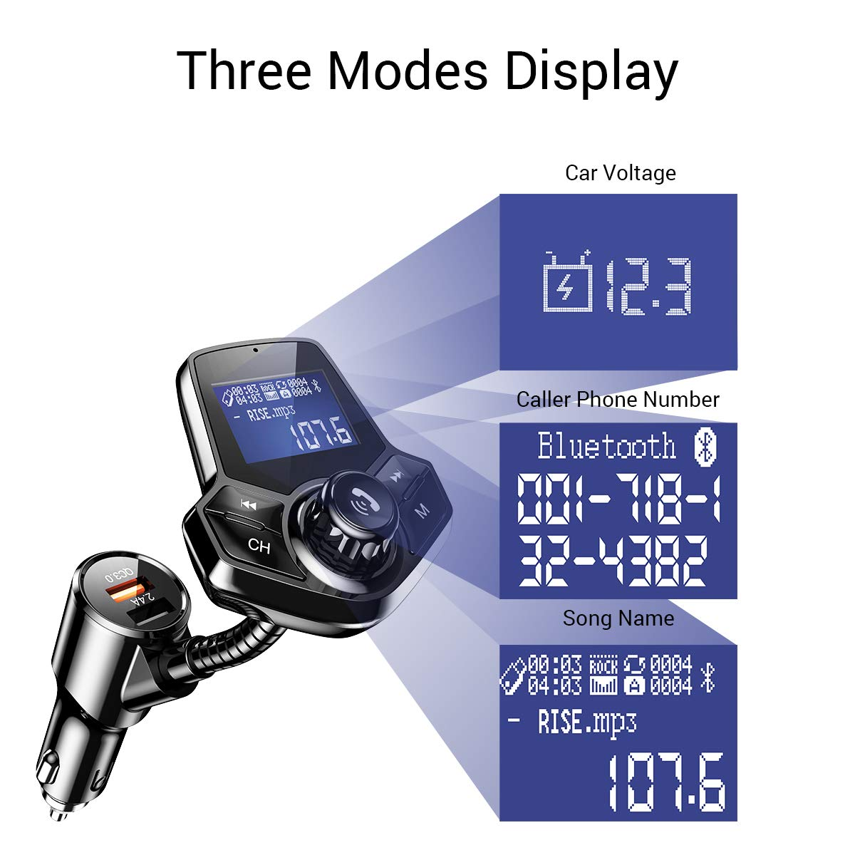Bluetooth FM Transmitter for Car, QC3.0 Fast Charger Fm Transmitter Bluetooth, Wireless Car Audio Adapter Hands-Free Kit with 1.44'' Display for AUX Input/Output, TF Card and U Disk by Ainope by Ainope (Image #6)