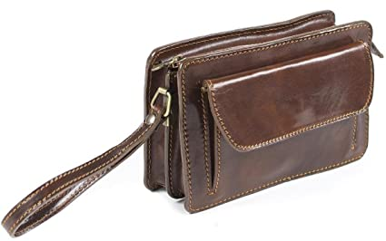 54fdb28f9d6b Image Unavailable. Image not available for. Colour  Genuine Italian leather  Mens Travel Organizer Wrist Bag Clutch Man Bag Brown