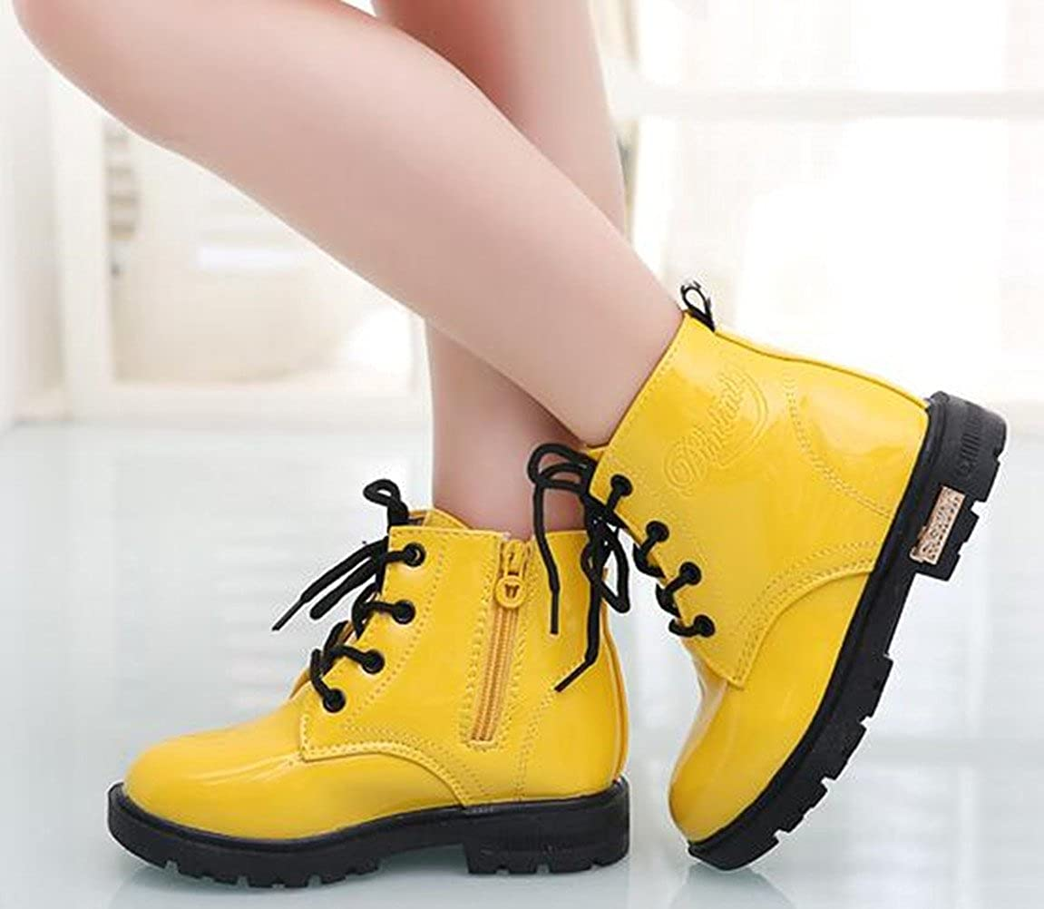 Toddler//Little Kid//Big Kid DADAWEN Boys Girls Waterproof Side Zipper Lace-Up Ankle Boots