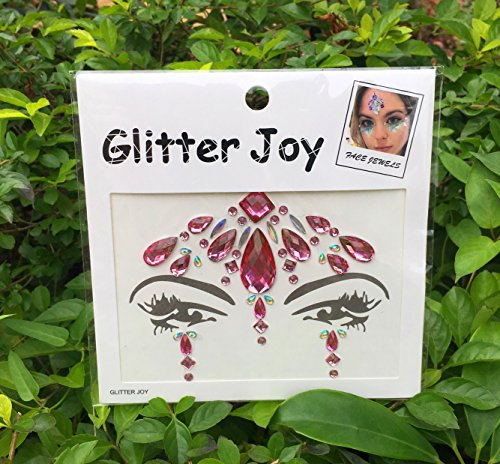 DaLin Face Gems Festival Jewels Crystals Bindi Tears Rhinestone Temporary Tattoo Face Rocks (Pink)