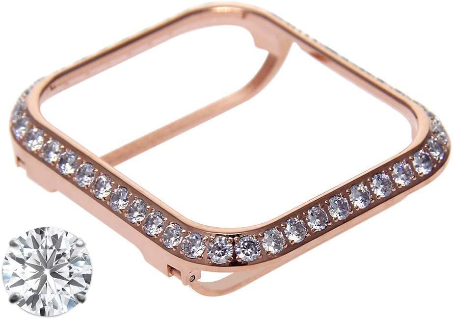 HJINVIGOUR 3.0mm Bling Spakling Rhinestone Diamond Zircon Crystal Case Cover Bezel Handwork Inlaid Compatible Apple Watch Series 4 Series 3 2 1 (Rose Gold, 38mm for Non Ceramics)