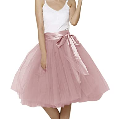 eb7cb32adb Amazon.com: Lisong Women Knee Length Bowknot Layered Tulle Party Prom Skirt:  Clothing