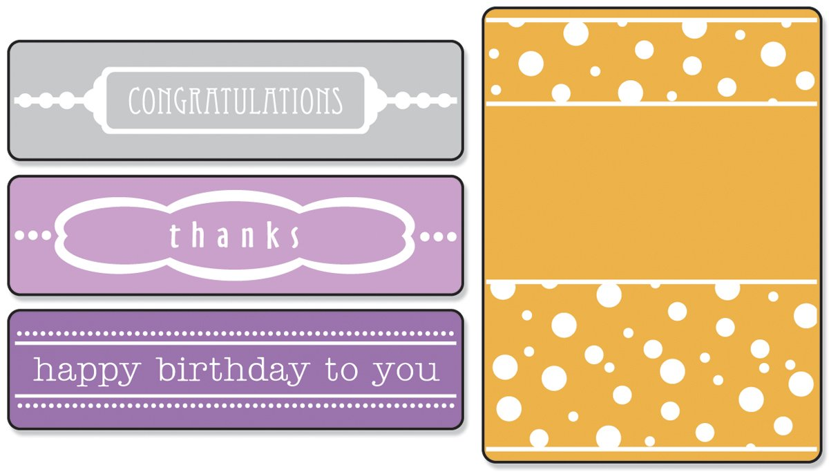 Sizzix Textured Impressions Embossing Folders 4/PK - Birthday, Congrats & Thanks Set by Eileen Hull Ellison 657382