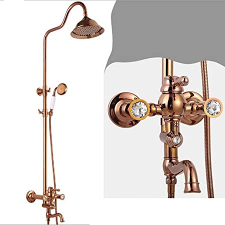 PENG Diamond Rain Shower Set Rose Gold Thermostatic Shower Head ...