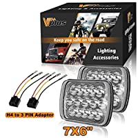 (Pack of 4) Crystal Clear 5X7 7X6 Inch LED Sealed Beam Headlight Replace HID Xenon H6014/6052/6054 With H4 9003 HB2 Wire Harness