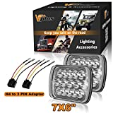 92 toyota pickup headlights - (Pack of 2) Partsam Sealed Beam Hi/Low Beam Cree 7x6 Headlights 6054 Led Headlight 5x7 Led Headlight 7x6 Led H6054 Headlights H6054 Led Headlights With Pigtail Harness For H5054 69822 6052 6053 C4 Cor