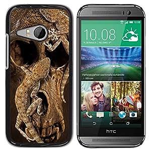 Paccase / SLIM PC / Aliminium Casa Carcasa Funda Case Cover - Skull Deep Animal Nature Brown - HTC ONE MINI 2 / M8 MINI
