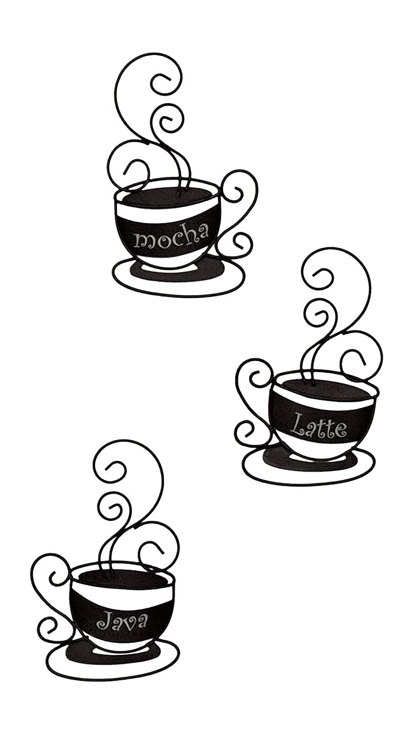 "Collections-Etc Metal Coffee Cup Wall Art - Set of 3 , 9"" x 6"" Black."