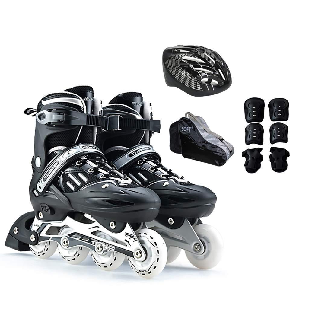 大人の照明インラインスケート調節可能なサイズの男の子と女の子インラインスケート安全で丈夫なジュニア快適なローラーブレード+防護服+ヘルメット (Color : 黒, Size : M-EU(35-38)) 黒 M-EU(35-38)