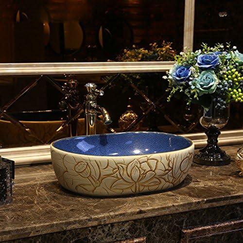 レトロなアートステージの上カウンター盆地産業スタイル盆地盆地アンティーク陶器洗面台広場ステージ洗面 P3/18 (Color : A)