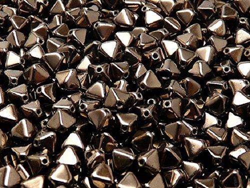 30pcs Czech Glass Pressed Bicone Lantern Beads 6mm Jet Copper Luster (23980/14435)