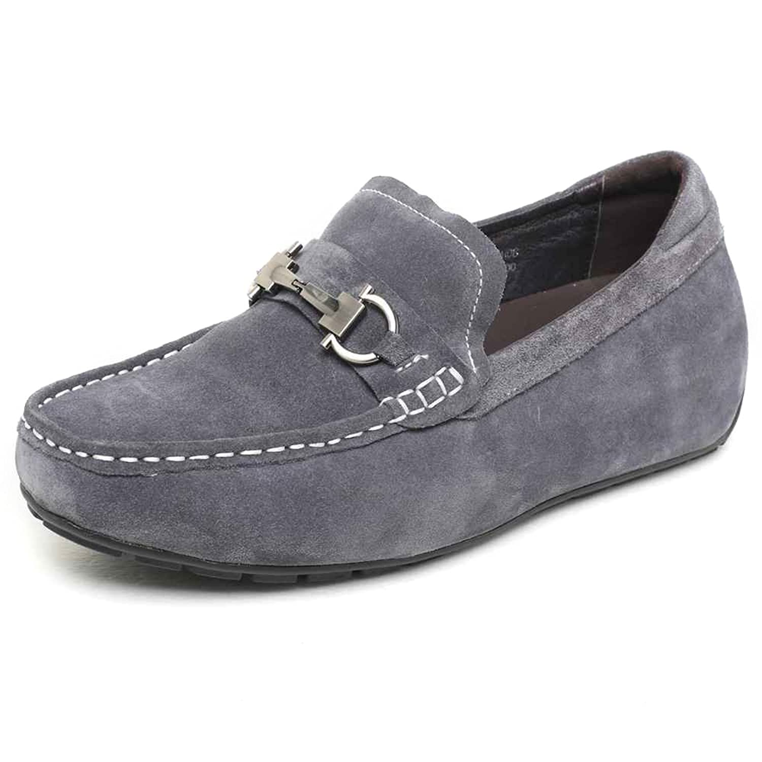 CHAMARIPA Height Shoes 2.17'' Men's Casual Leather Driving Loafer Elevator Shoes 032H08