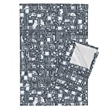 Roostery Steampunk Tea Towels Steampunk Panel - Pipes - Steel by Bonnie Phantasm Set of 2 Linen Cotton Tea Towels