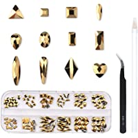 120 Pcs Multi Shapes Glass Crystal AB Rhinestones For Nail Art Craft, Mix 12 Style FlatBack Crystals 3D Decorations Flat Back Stones Gems Set (Gold,120 pcs Crystal)
