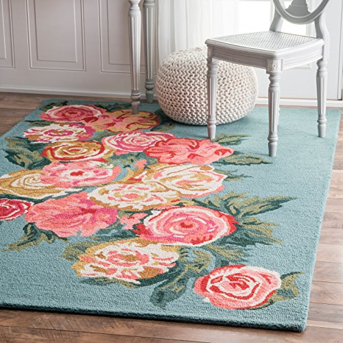 nuLOOM Hooked Beautiful Rose Bouquet Area Rugs, 3' x 5', Light Blue Contemporary Rose Bouquet