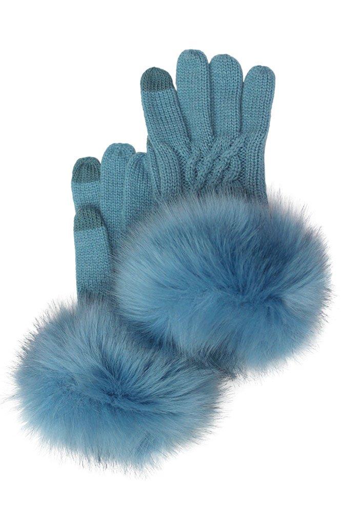 ScarvesMe CC Soft Knitted Solid Color Gloves with Fur Trim (Denim) by ScarvesMe
