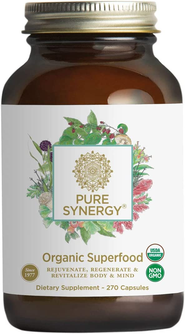 Pure Synergy USDA Organic Green Superfood (270 Capsules) 60+ Greens, Veggies, Herbs for Energy & Wellness