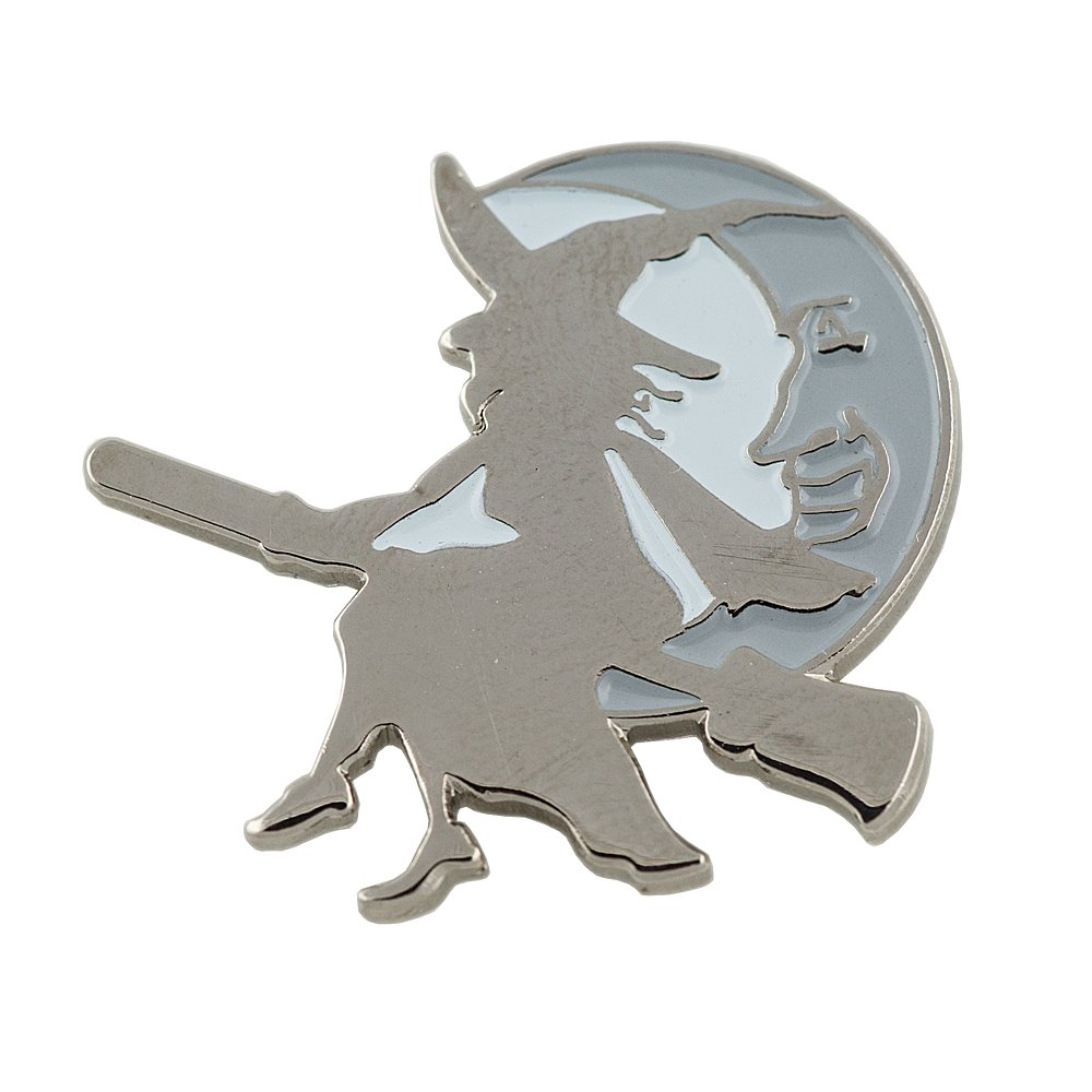 Halloween motif sorciè re sur son balai lune walpurgisnacht mé tal button broches pins é cussons 0497 Import / Hegerring