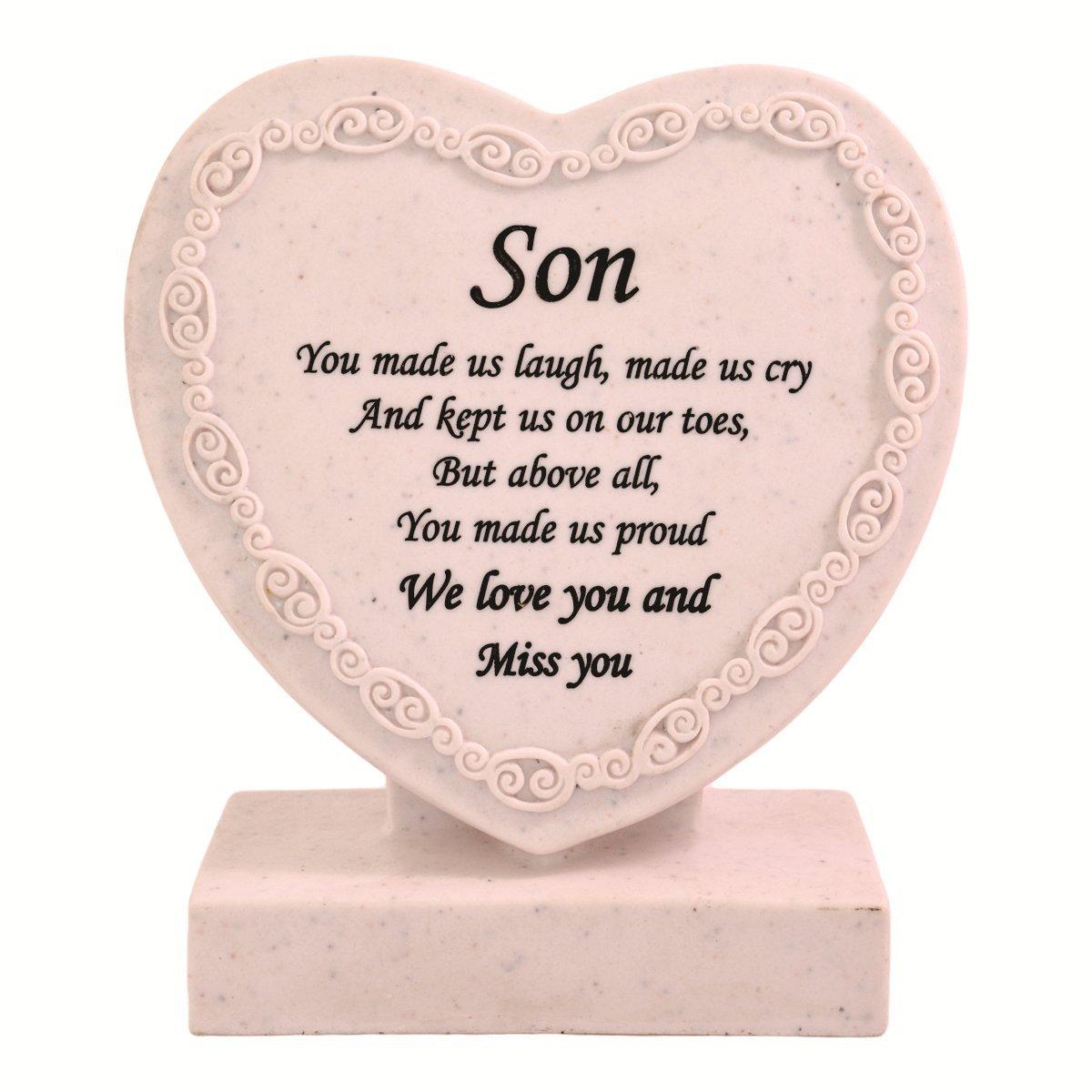 Son  Double heart shape Grave Ornament in loving memory  Memorial