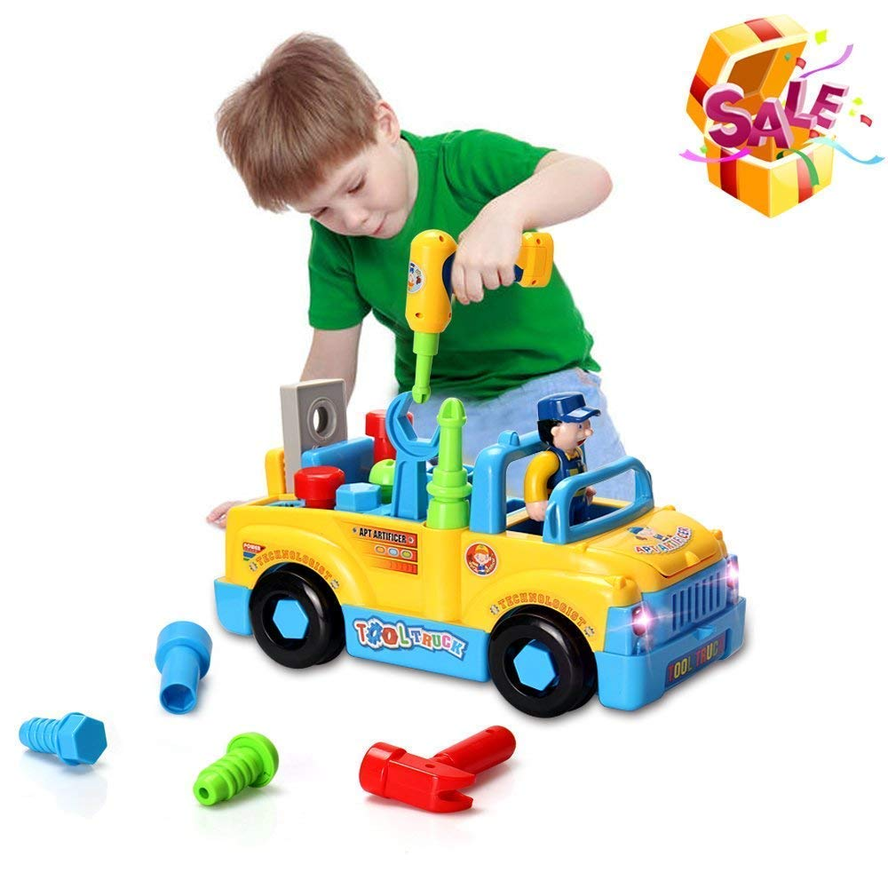 HOMOFY Baby Toys Multifunctional Construction Take Apart Toy - Toy Tool Trucks Kids Toys Age 3 Electric Drill Power Tools Assembling, Music & Lights, Bump Go!