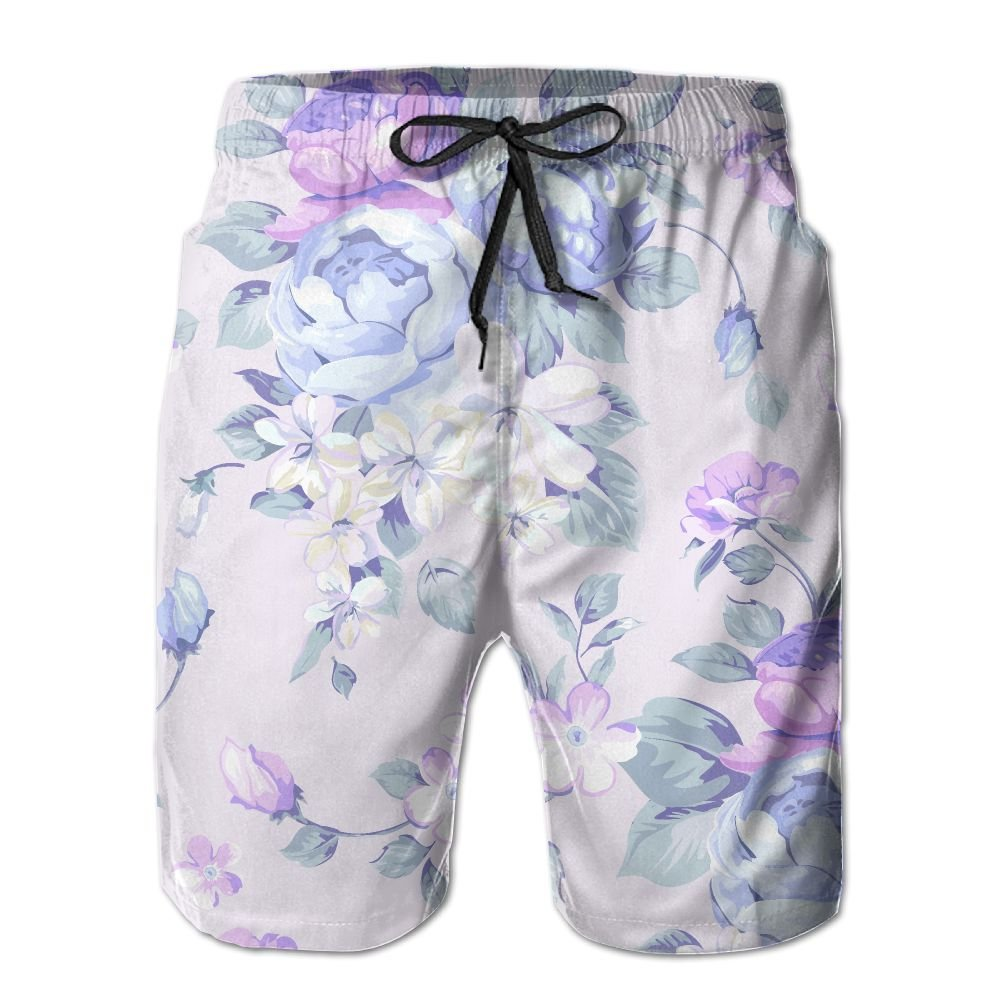 ZAPAGE Mens Quick Dry Swim Trunks Floral Swim Trunk Board Shorts With Pockets
