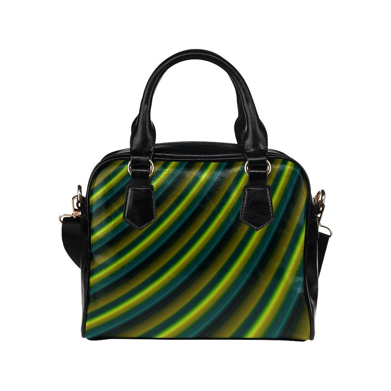 JASONEA PU Handle Handbag Glossy Lime Green Gradient Stripes Women Shoulder Handbag