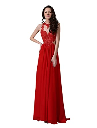 500627799d6 Amazon.com  Miama Women s Lace Chiffon Floor length Sexy Evening Party Dress   Clothing