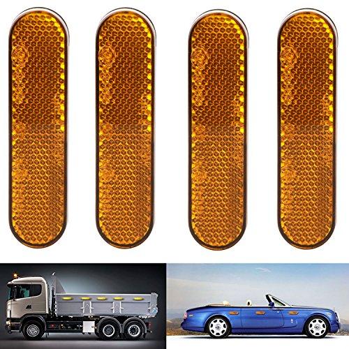 Rápido montaje reflector, reflector Adheribles Oval Amarillo de plástico calcomanía, trabajo para coches, remolque, moto,...