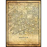 Frisco map Vintage Style Poster Print | Old City Artwork Prints | Antique Style Home Decor | Texas Wall Art Gift | map to Love 16x20