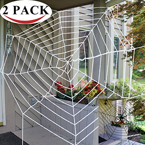 Halloween 2 Pack 11ft Mega Spider Web for Halloween Outdoor Decoration - 1 Black and 1 White by Spooktacular (White Spider Web Halloween Decoration)