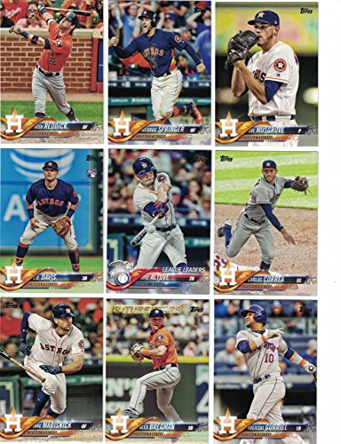 Houston Astros / Complete 2018 Topps Series 1 & 2 Baseball 28 Card Team Set! Includes 25 bonus Astros Cards!