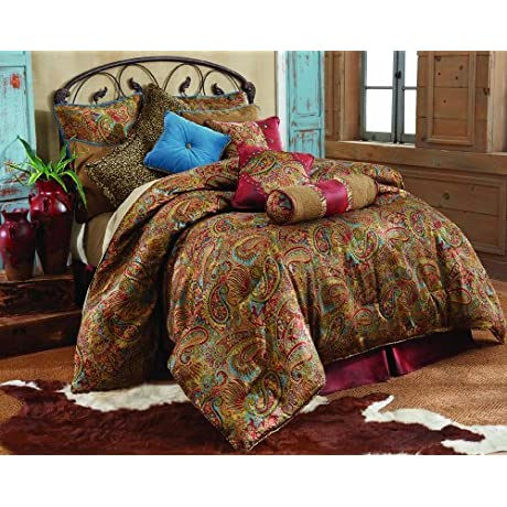 HiEnd Accents San Angelo Comforter Set With Red Bedskirt Full By HiEnd Accents