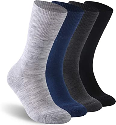 Facool Diabetic Socks for Men Women Dress Cushioned Crew Cotton Socks with Non-Binding,Loose Top,Seamless Toe 6 Pairs