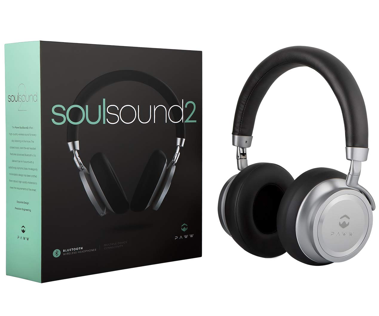 Paww SoulSound 2 Headphones - Over Ear Bluetooth Wireless Headphones - Bass Boost Button - 17 Hours Playtime - Foldable - Modern Fashion & Sound Quality Combined - for Enthusiasts & Audiophiles by Paww