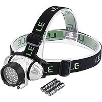 LE Stirnlampe Kinder, LED Kopflampe, 18 Weiße LED und 2 Rote LED, 4 Helligkeiten zu wahlen, LED Stirnlampen, LED Kopflampen, Kopfleuchten, leicht und superhell, ideal für Wandern, Camping, Ausflug