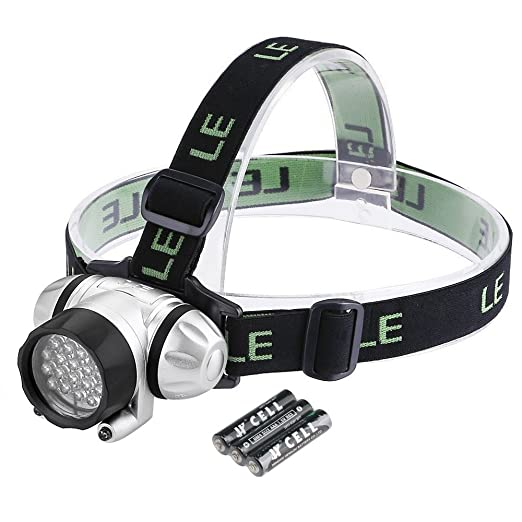 Amazon LE LED Headlamp 4 Lighting Modes Lightweight Headlight Helmet Light For Outdoor Camping Running Hiking Reading And More AAA Batteries