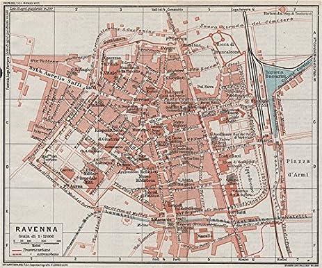 Amazoncom RAVENNA Vintage town city map plan Italy 1924 old