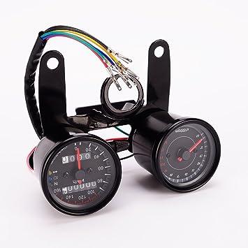 Universal Motorcycle LED Dual Odometer Sdometer Tachometer Sdo Meter on