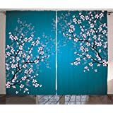 Teal Curtains Decor by Ambesonne, Pink Blossoms Art Leaves and Plants Ombre Spring Japanese Sakura Flowers in Garden Park, Living Room Bedroom Window Drapes 2 Panel Set, 108W X 84L Inches, Teal Pink