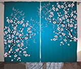 Teal Curtains Decor by Ambesonne, Pink Blossoms Art Leaves and Plants Ombre Spring Japanese Sakura Flowers in Garden Park, Living Room Bedroom Window Drapes 2 Panel Set, 108 W X 84 L Inches, Teal Pink