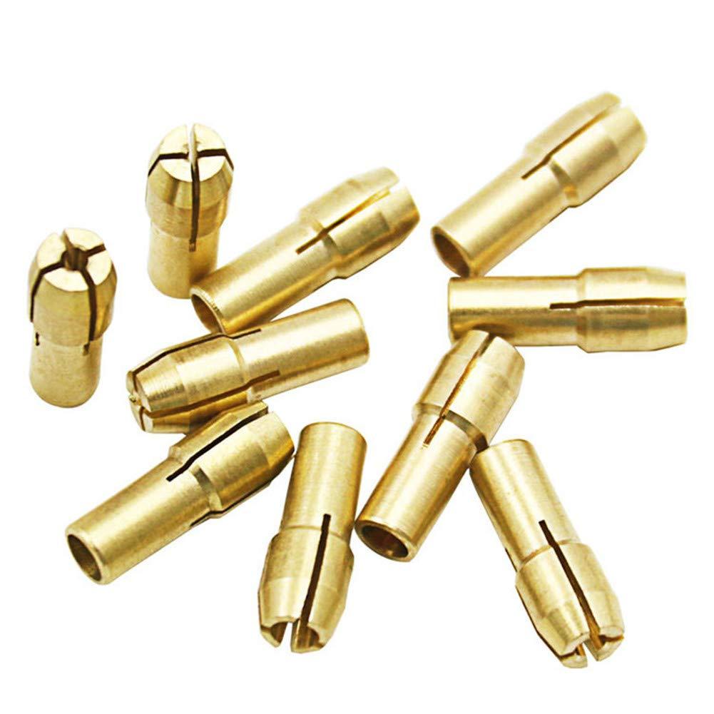 Lot de 10 embouts de mandrin en laiton 0,5-3,2 mm pour outils rotatifs Dremel