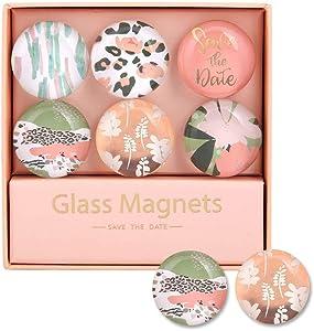 "Multibey Cute Refrigerator Magnets Decorative Glass Fridge Magnet Stickers for Whiteboard Cabinet Maps Decoration Women Gift (Large 1.2"" Dia, Orange Flower)"