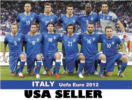 Italy 2012 team photo POSTER 34 x 23.5 UEFA Euro soccer football Italian competitors Cristiano Zanetti Marco Delvecchio Christian Vieri (sent FROM USA in PVC pipe) (Series Roma Competitor)