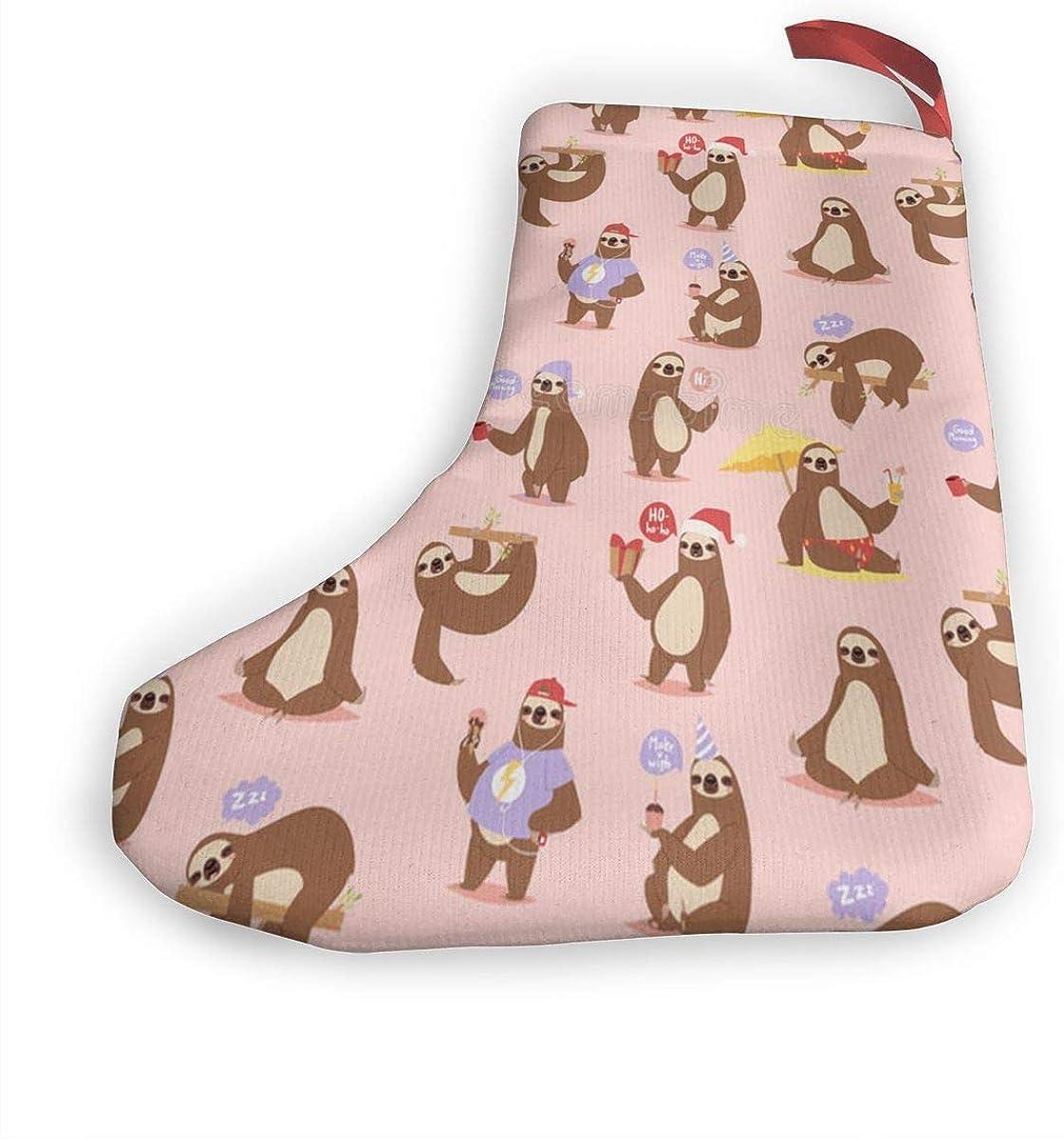 Christmas Tree Ornament Stockings Sloth Vacation Santa Xmas Socks 2Pcs Set