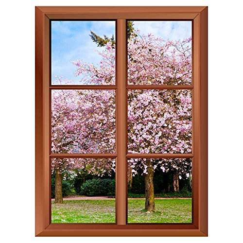 Removable Wall Sticker Wall Mural Sakura Flowers Blooming Beautiful Pink Cherry Blossom Creative Window View Vinyl Sticker