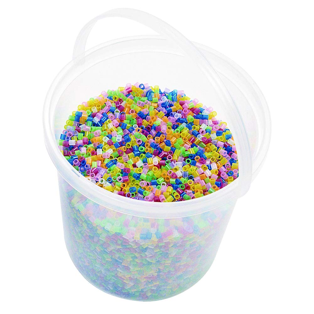 Colorations FBBF Fluorescent Fuse Beads and 4 Pegboards in a Bucket by Colorations