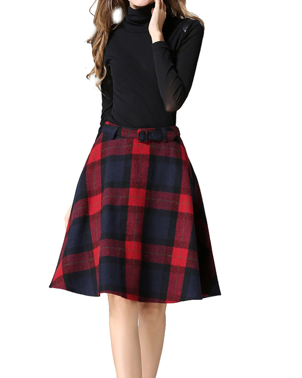 Womens Vintage Plaid Wool High Waist A-lineKnee Length Sakter Skirt with Pockets(S/US 2, Red) by Armear (Image #3)