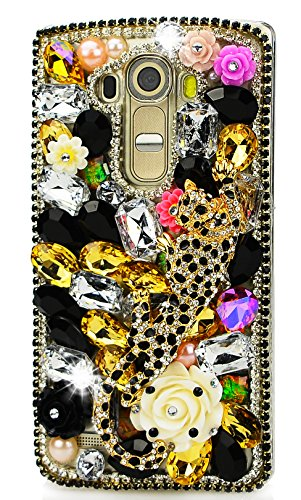 STENES LG X Charge Case - Stylish - 100+ Bling Crystal - 3D Handmade Leopard Big Rose Flowers Design Protective Case for LG X Power 2 /LG Fiesta LTE/LG X Charge - Gold&Black