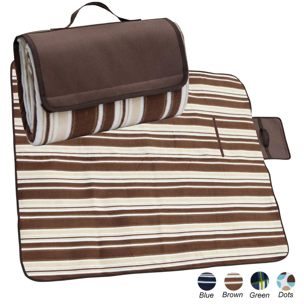 apollo walker Extra Large Waterproof Camping Blanket Mat Fleece Picnic Blanket Tote with Stripe,Suitable for Outdoor Travel, Barbecue, Camping Life.(80x60-Inch)(Brown) by apollo walker