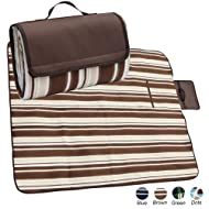 apollo walker Extra Large Waterproof Camping Blanket Mat Fleece Picnic Blanket Tote with Stripe,Suitable for Outdoor Travel, Barbecue, Camping Life.(80x60-Inch)(Brown)